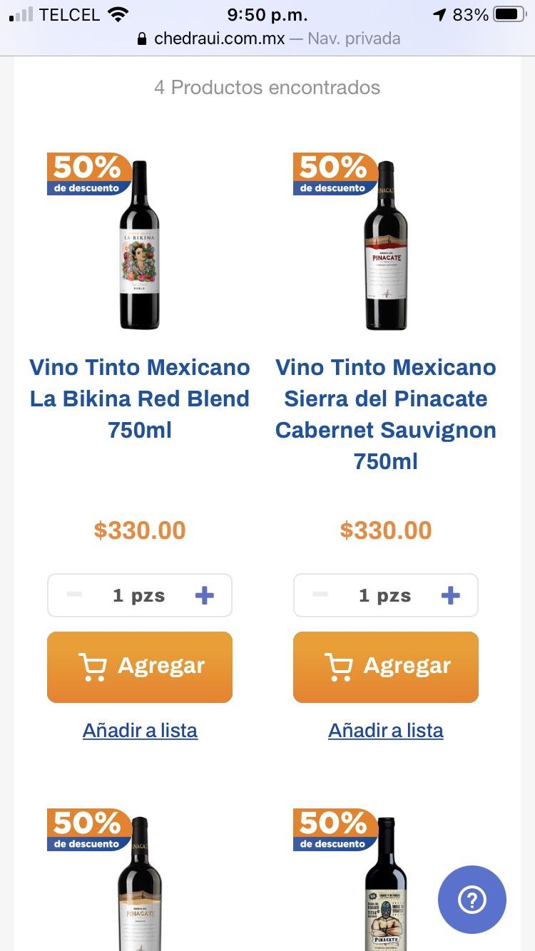Chedraui: vino tinto pinacate y la bikina - 50% de descuento