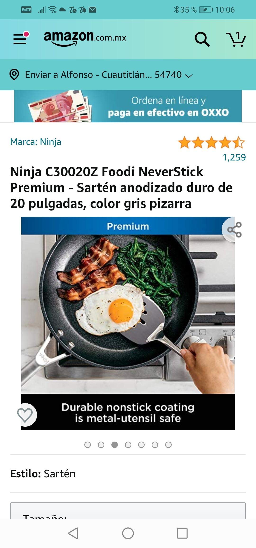 Amazon: Ninja C30020Z Foodi NeverStick Premium - Sartén anodizado duro de 20 pulgadas, color gris pizarra