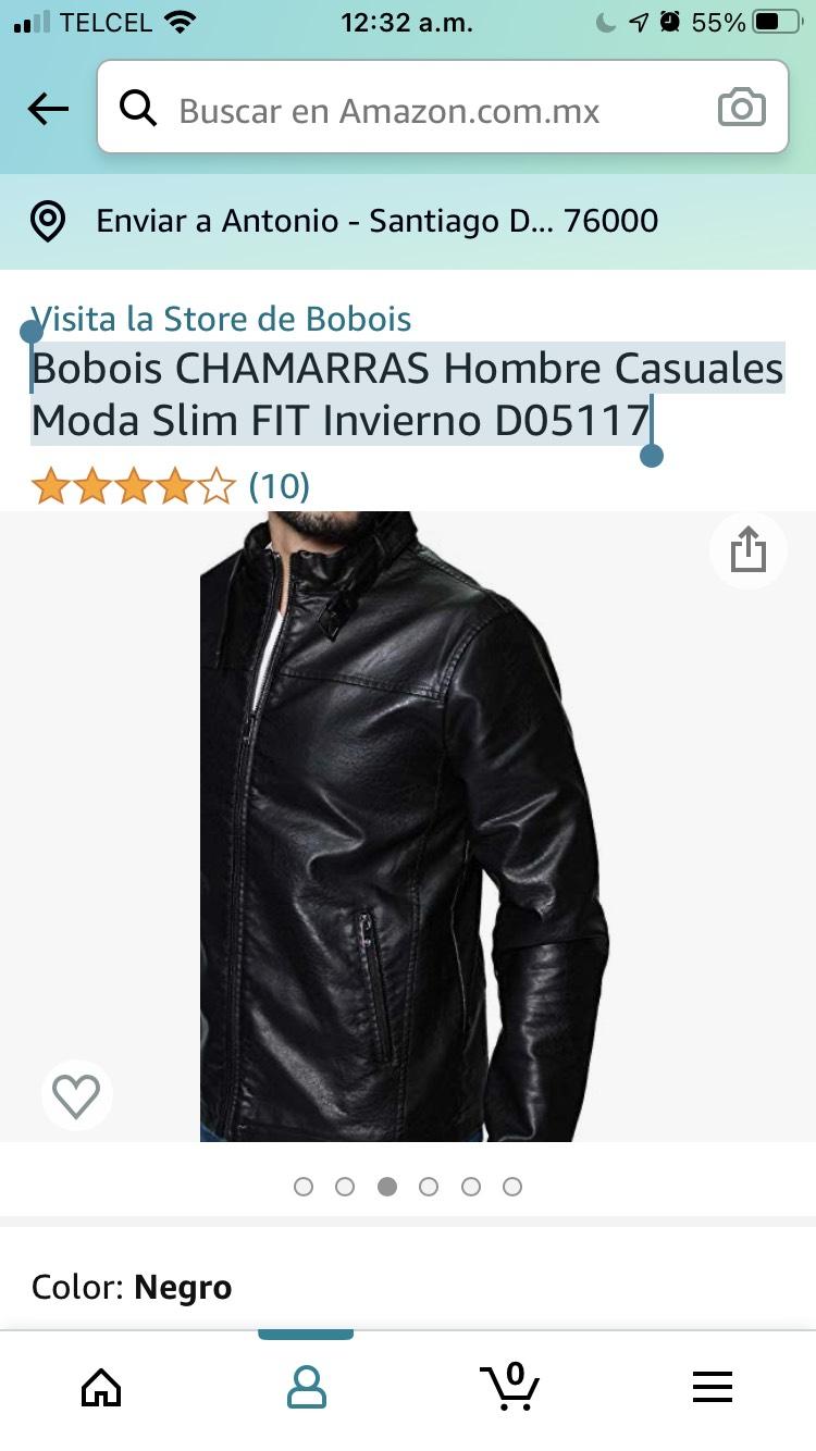 Amazon: Chamarra Bobois Café/Negra para caballero (Todas las tallas)