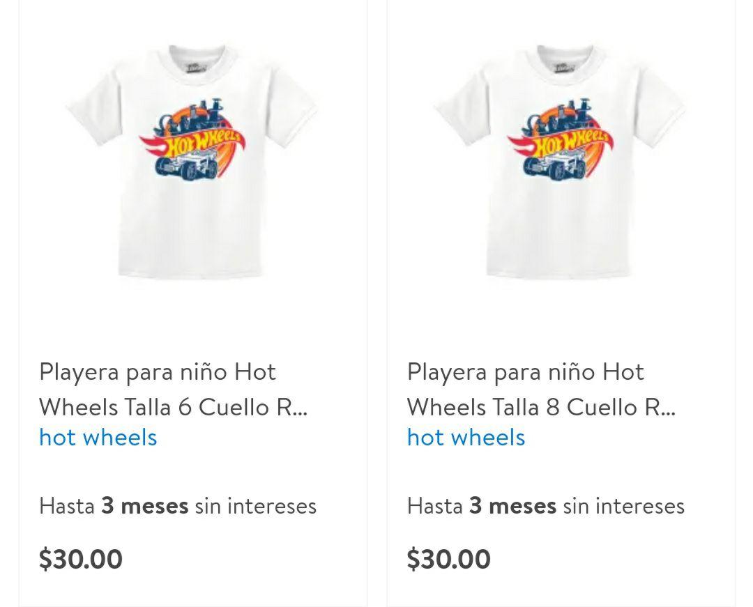 Walmart: Playeras para niño, Hot Wheels, tallas 6 y 8... 3 colores. Envío gratis recogiendo en tienda.