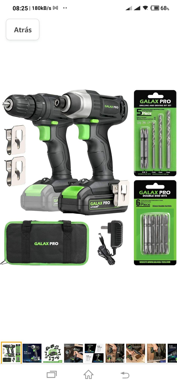 Amazon, Kit combo de destornillador de impacto y destornillador de taladro inalámbrico GALAX PRO