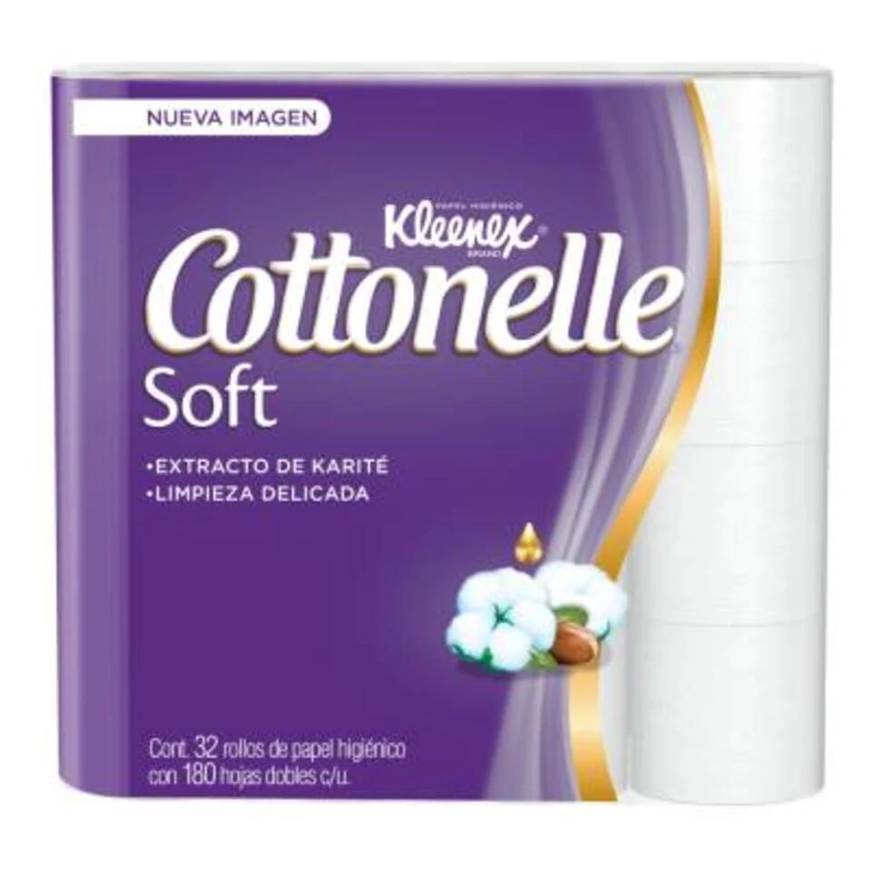Walmart, Papel higiénico Kleenex Cottonelle soft care 32 pzas de 180 hojas dobles ,Papel higiénico Kleenex Cottonelle soft care 32 pzas