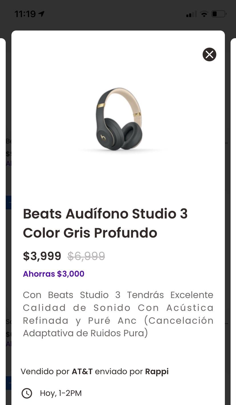 Beats studio 3 en aplicación rappi At&t