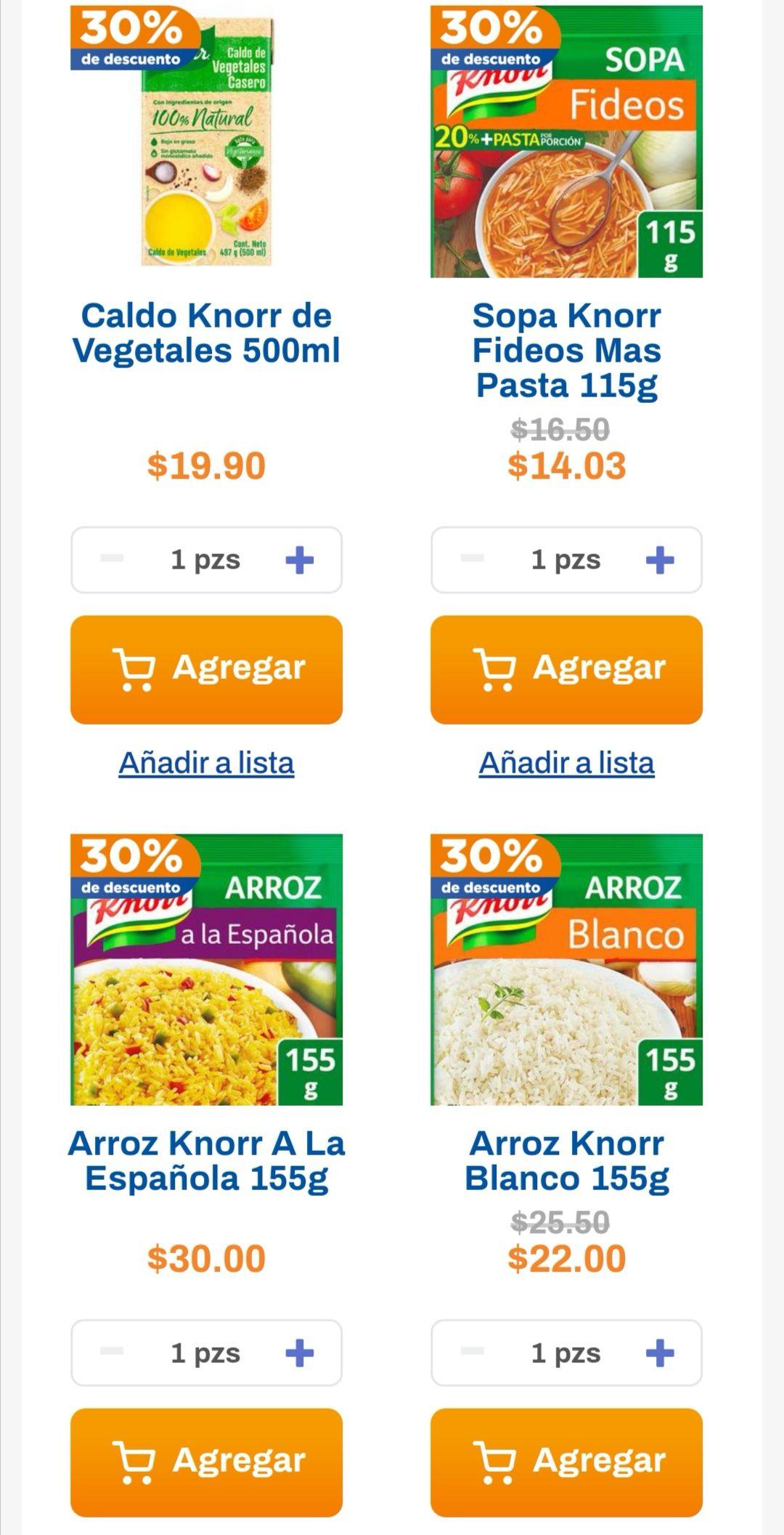Chedraui: 30% de descuento en todas las sopas Knorr