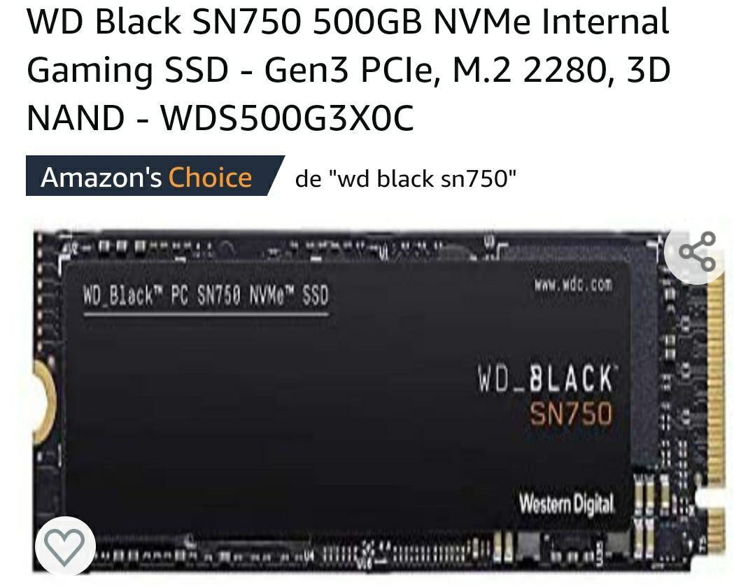 Amazon: WD BLACK SN750 500GB NVMe