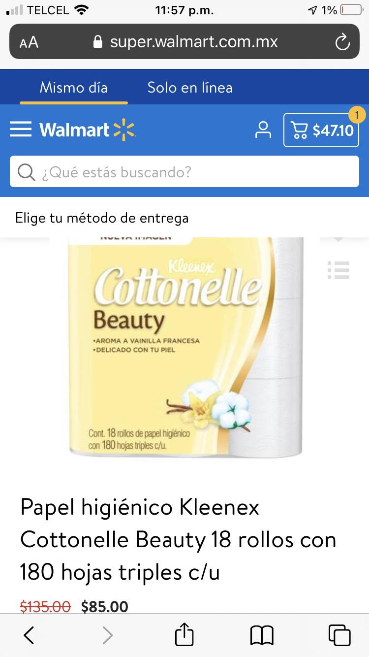 Walmart app: Papel higiénico Kleenex Cottonelle Beauty 18 rollos con 180 hojas triples c/u