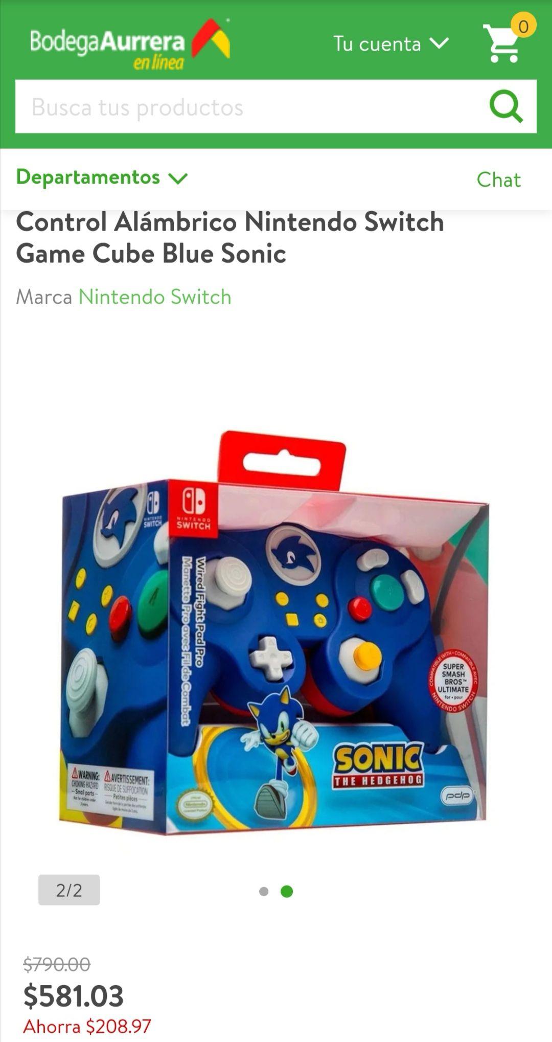 Bodega Aurrerá, Control Alámbrico Nintendo Switch Game Cube Blue Sonic y White Zelda