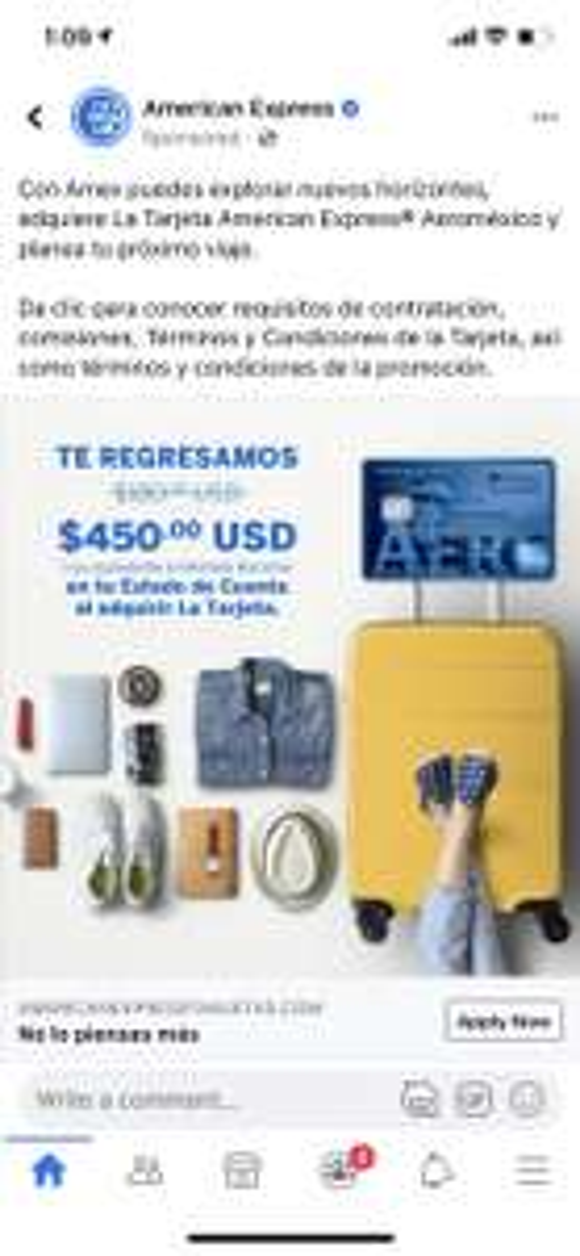 American Express: Te devuelven 450.00 USD al adquirir AMEX Aeromexico