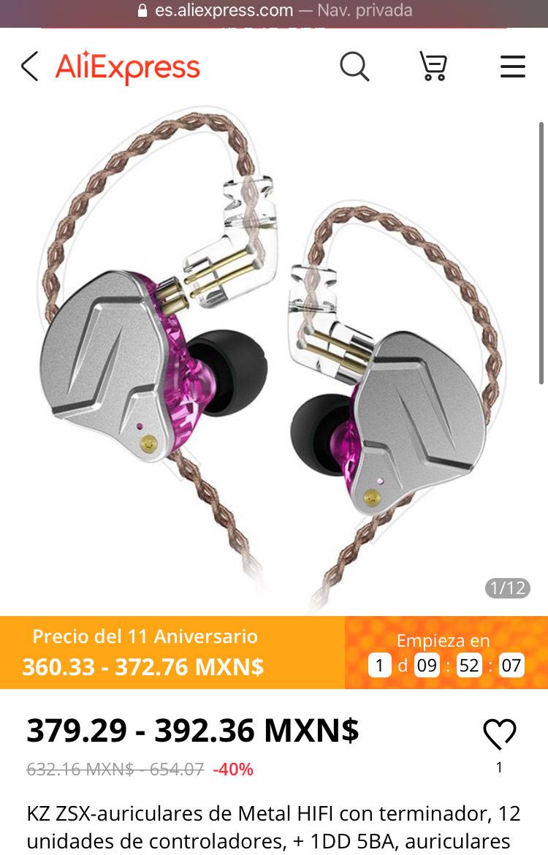 Aliexpress: KZ ZSX-auriculares de Metal HIFI con terminador, 12 unidades de controladores, + 1DD 5BA