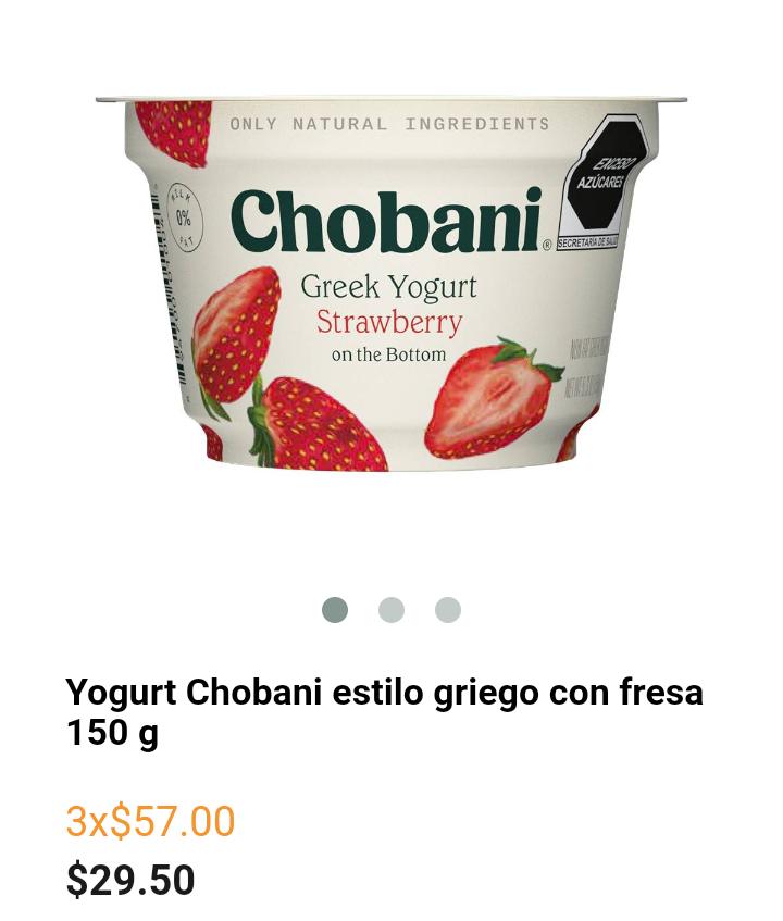 Superama: Yogurt Chobani estilo griego ( 3x2)