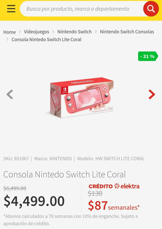 Elektra: Nintendo switch lite 4049 con azteca