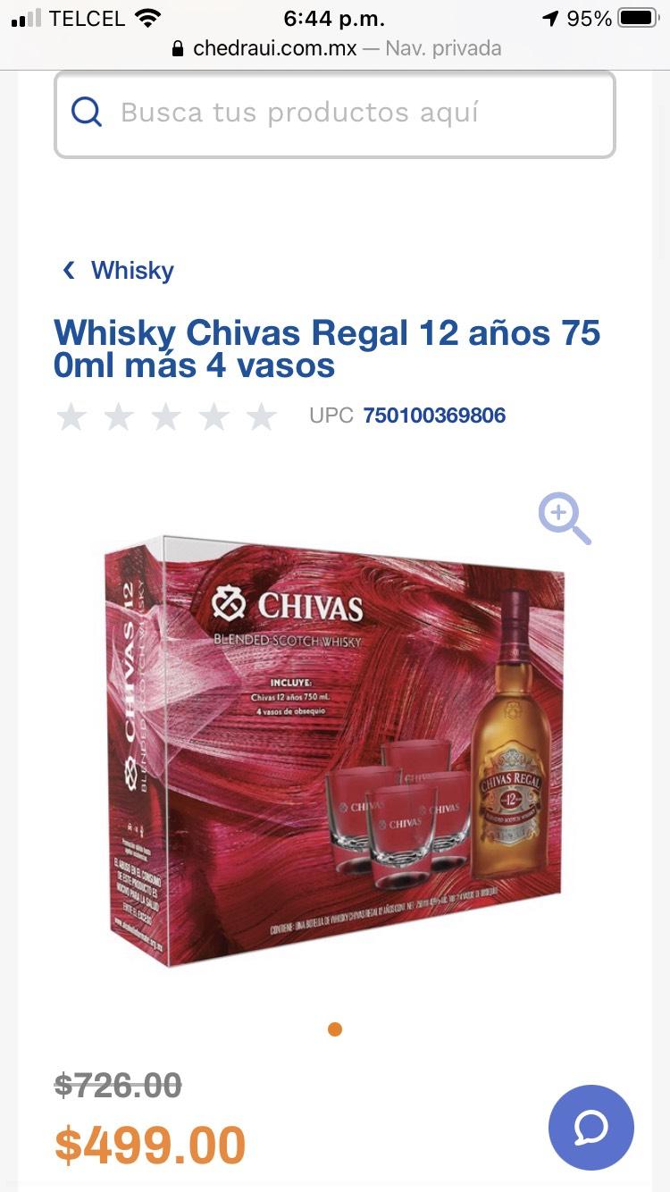 Chedraui: Whisky Chivas Regal 12 años 750ml más 4 vasos