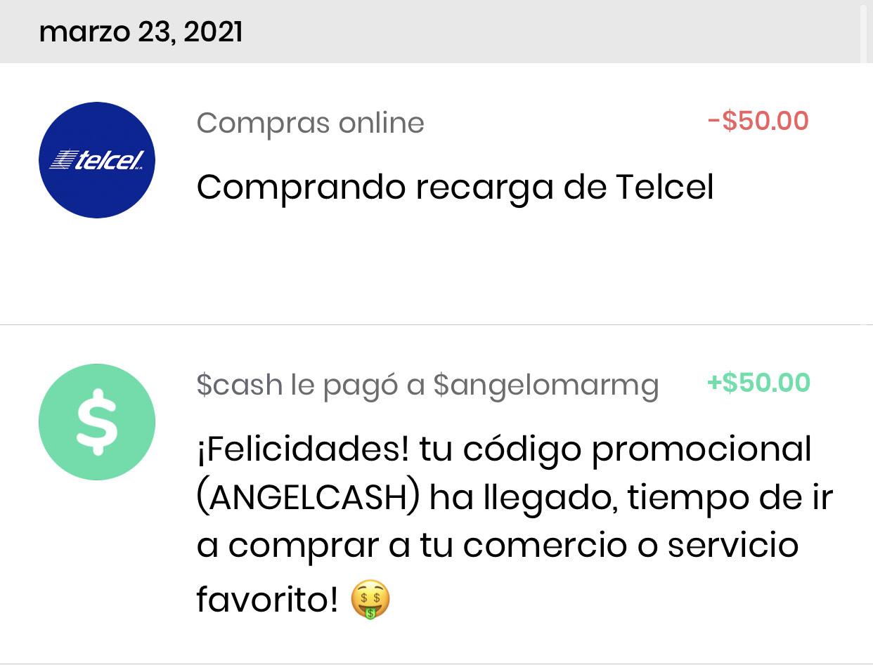 Hola Cash: RECARGA GRATIS $50 (Telcel, AT&T, Movistar, Unefon etc)