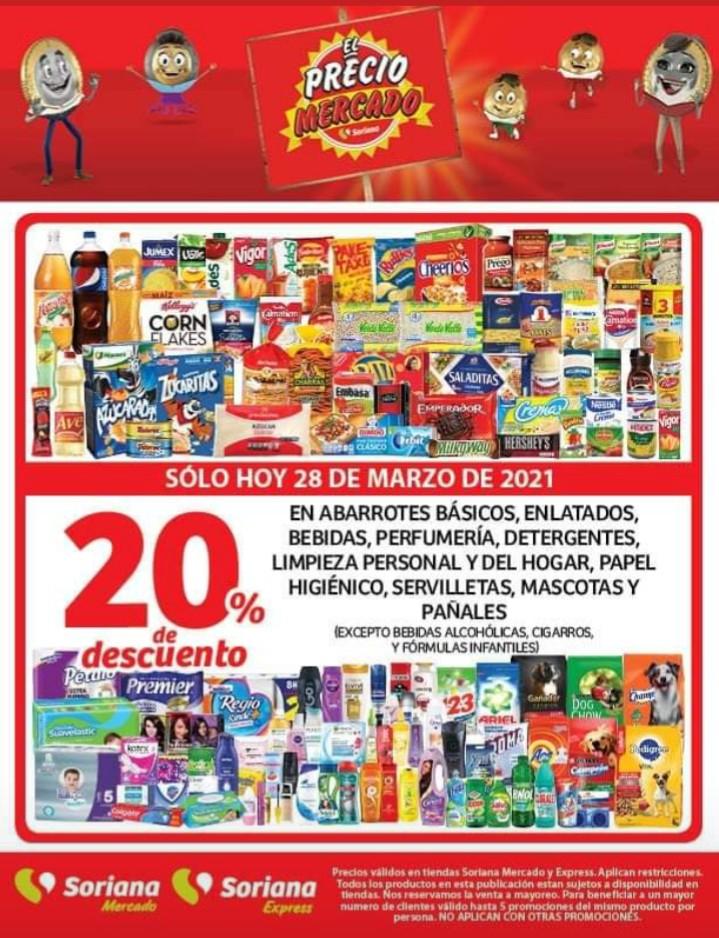 Soriana: Mercado y Express 20% de descuento en abarrotes y más.