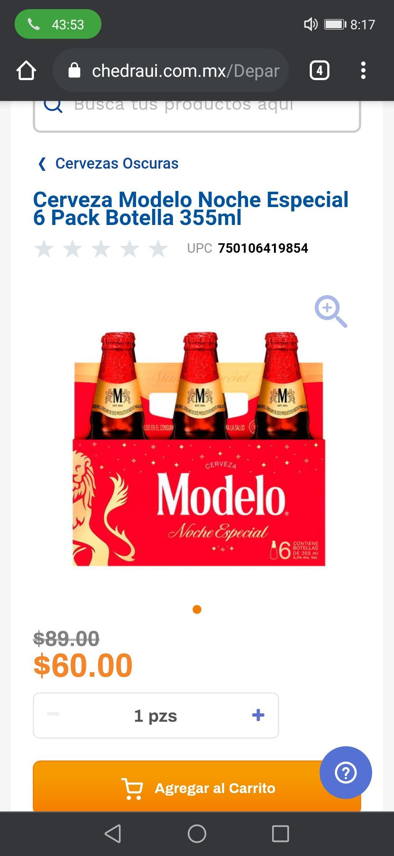 Chedraui: Cerveza Modelo Noche Especial 6 pack