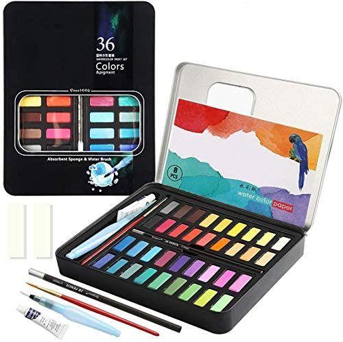 Amazon: Kit de Acuarelas sólidas de 36 colores premium