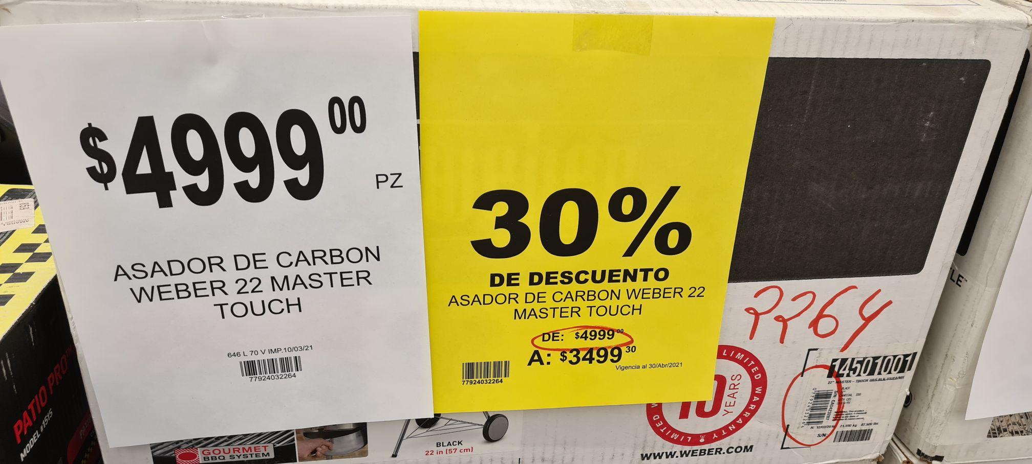 Soriana plaza fiesta slp Weber master touch a casi 50% de descuento vs página oficial de weber