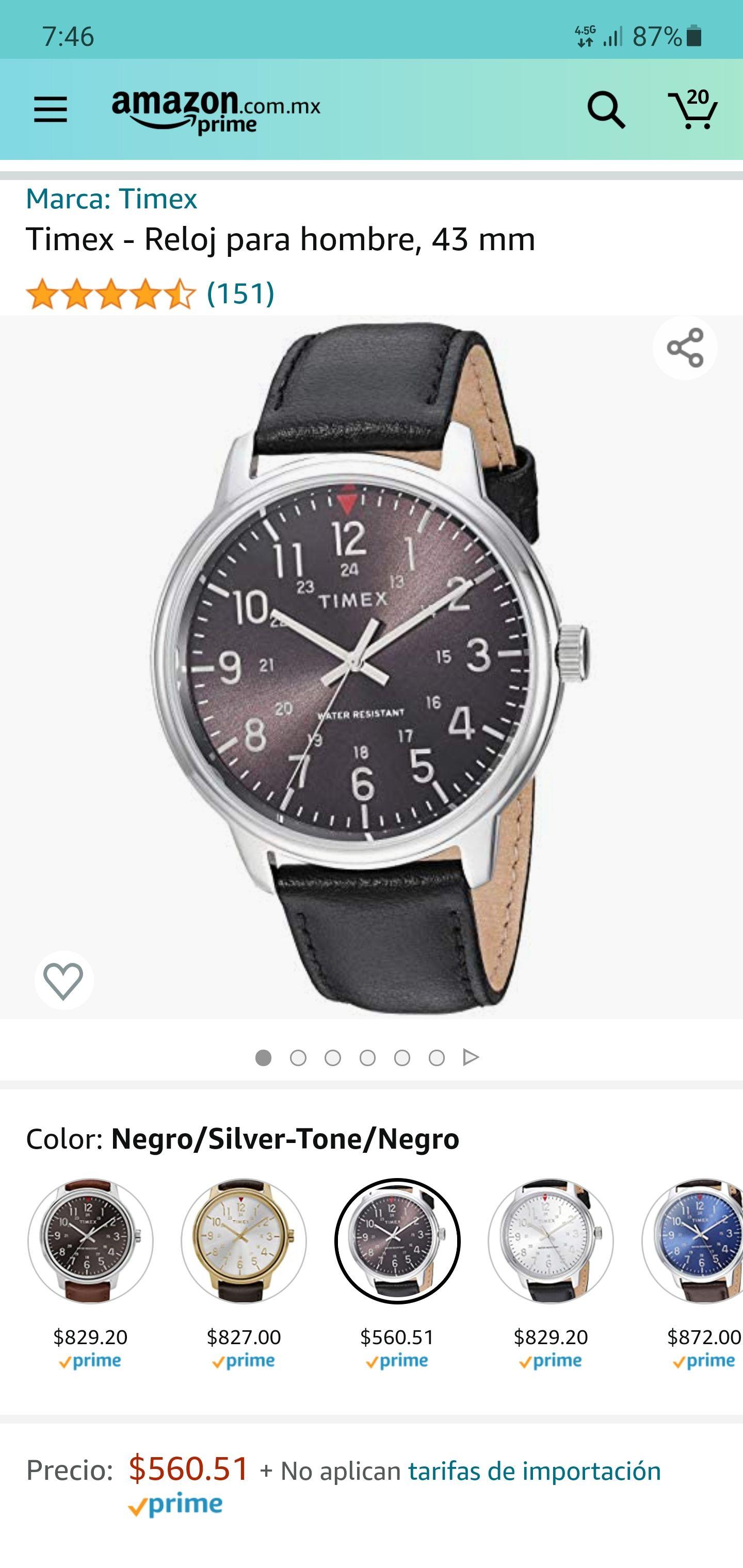 Amazon: Reloj Timex 43mm