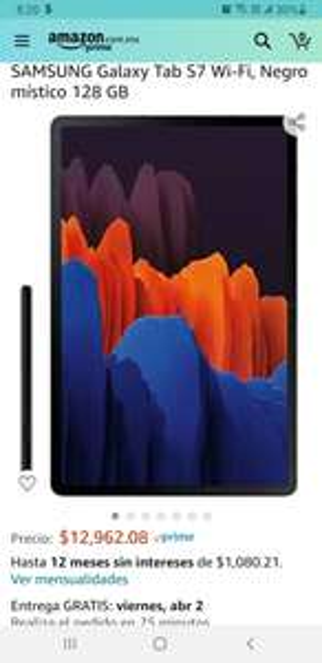 Amazon: Samsung galaxy Tab S7 wifi