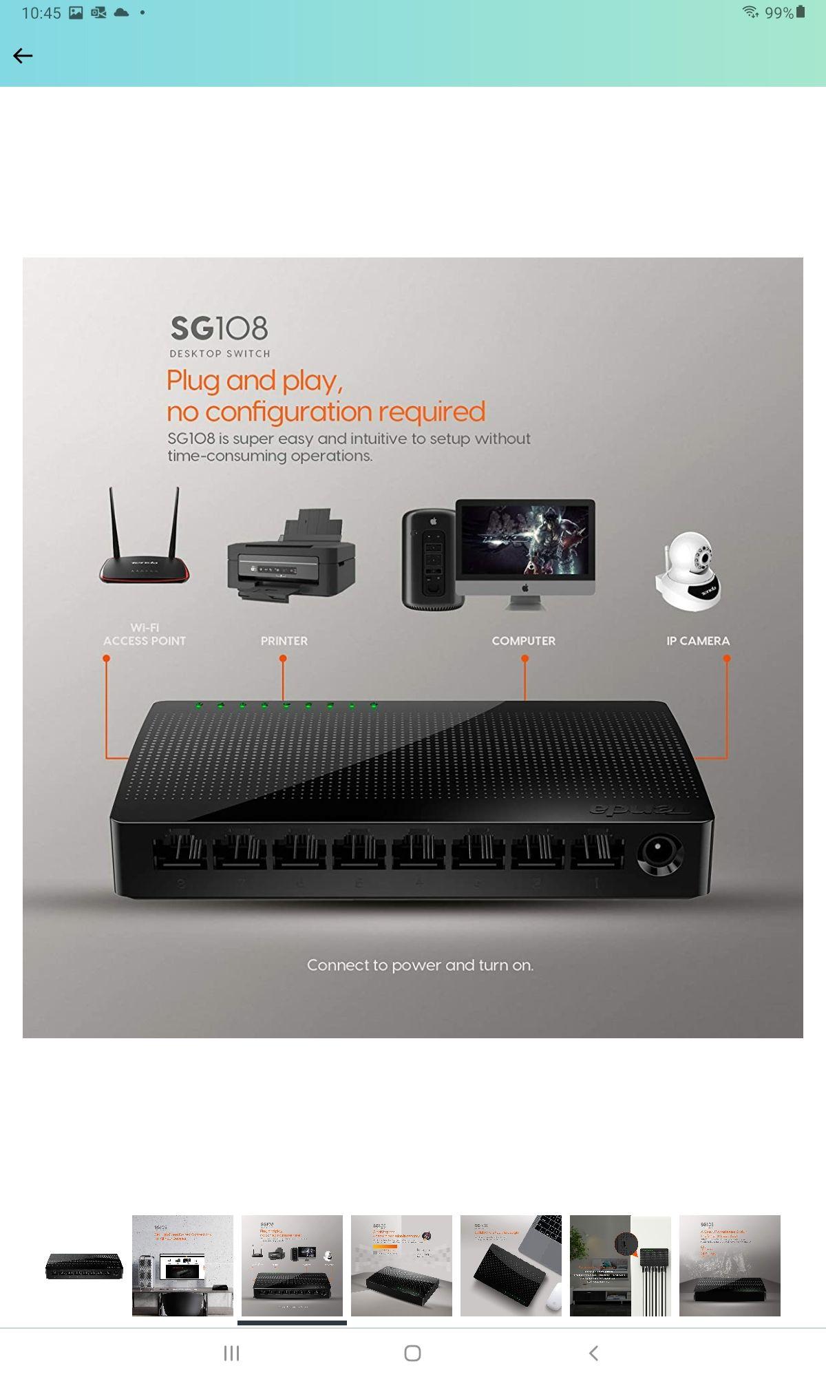 Amazon: Tenda SG108 Switch de Escritorio Gigabit de 8 Puertos , 8* 10/100/1000 Mbps