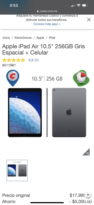 "Costco: Apple iPad Air 10.5"" 256GB Gris Espacial + Celular"