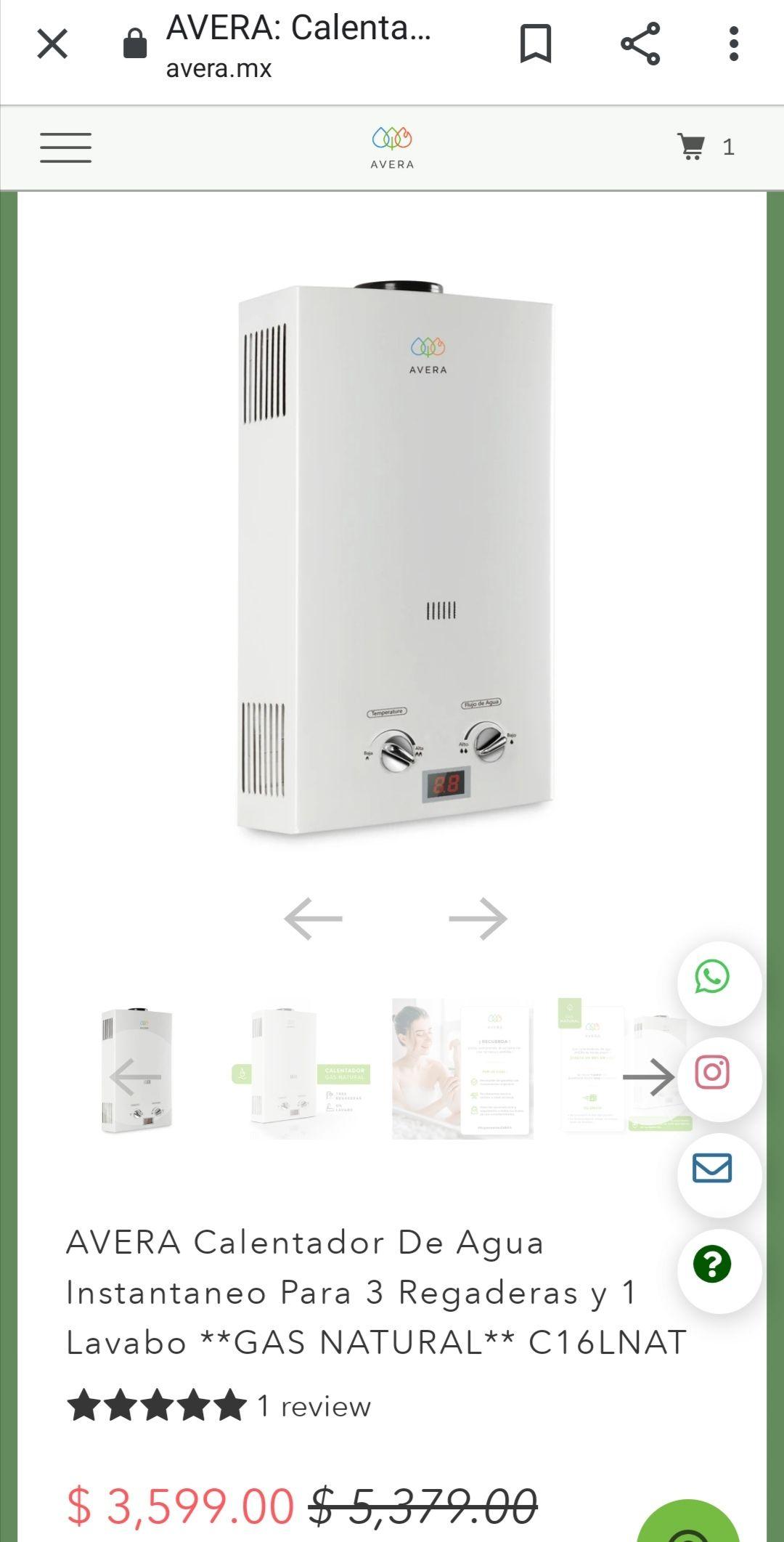 Avera: Calentador instantáneo 3 servicios 1 regadera