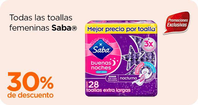 Chedraui: 30% de descuento en toallas femeninas Saba