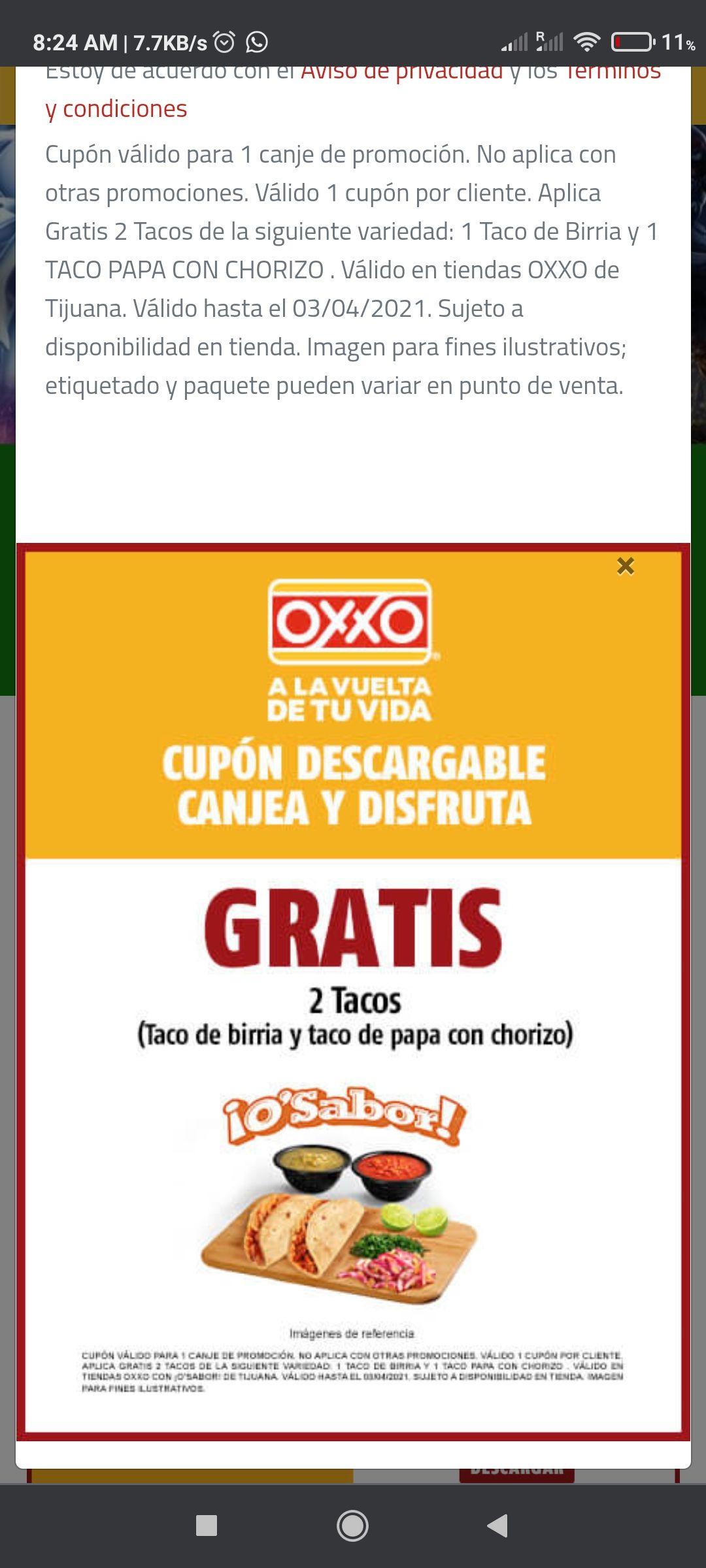 Oxxo Tijuana: cupon por 2 tacos gratis