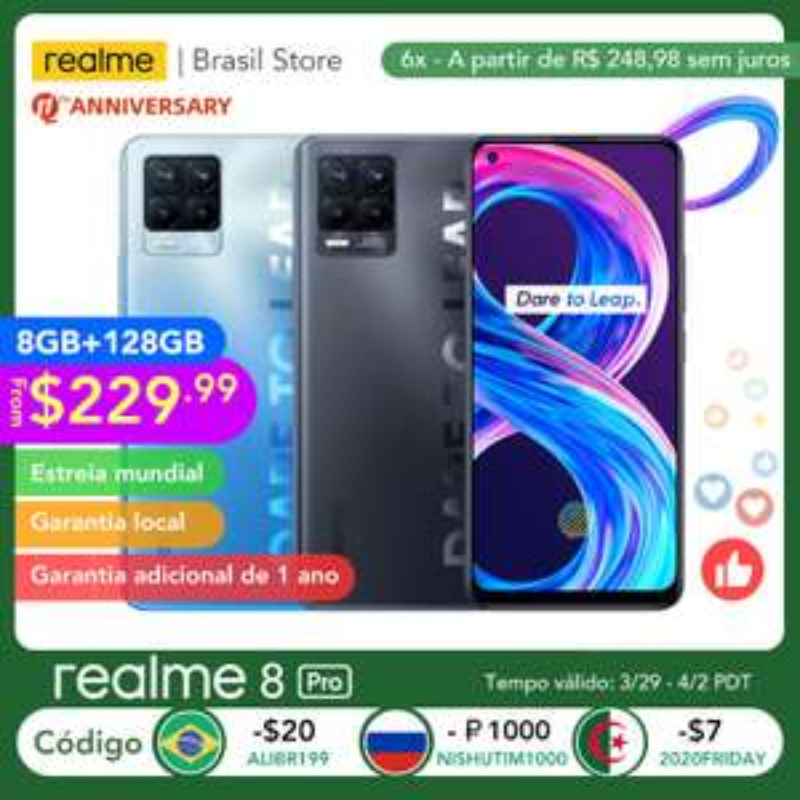 AliExpress: Realme-teléfono inteligente 8 Pro, versión Global, 8GB, 128GB, cámara de 108MP, 50W, carga SuperDart AMOLED, compatible con B2/4