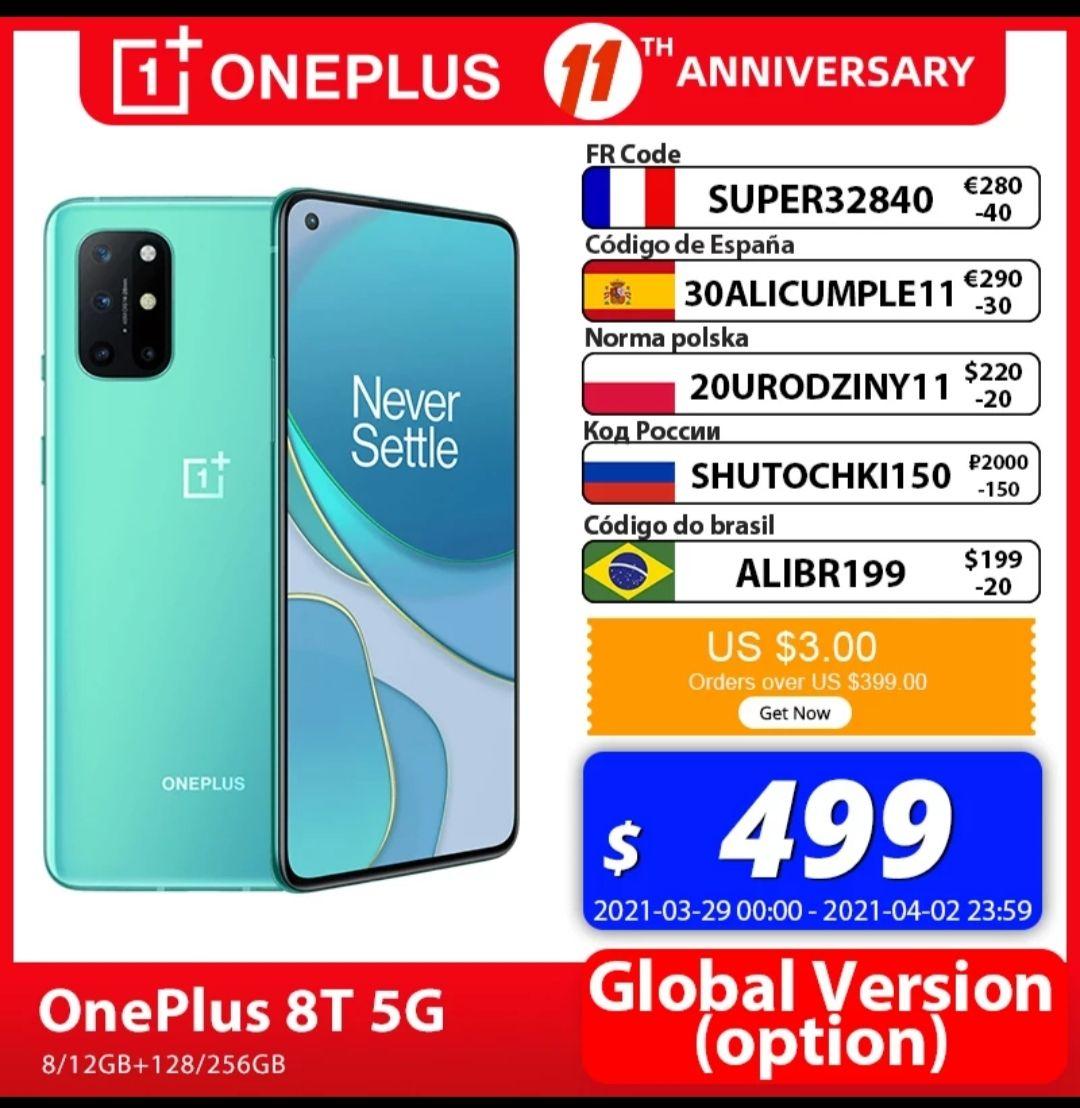 AliExpress: OnePlus 8T 8/128 dhl incluido