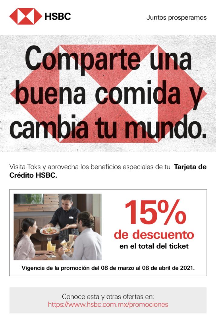 HSBC: 15% de descuento en Toks
