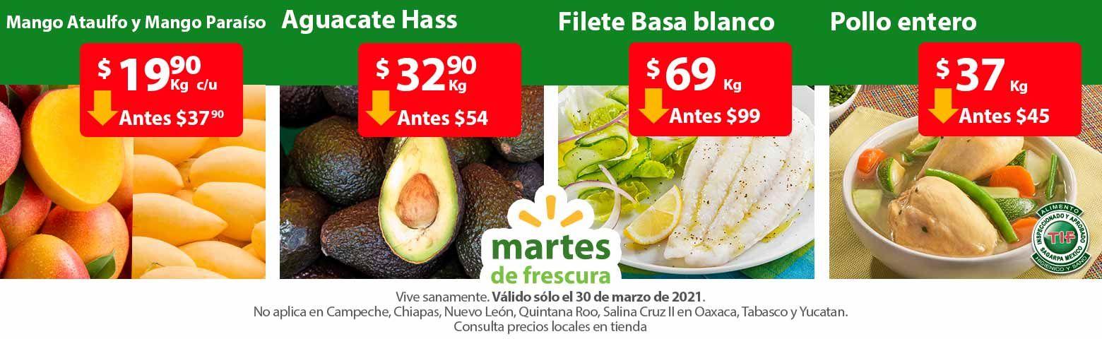 Walmart: Martes de Frescura 30 Marzo: Mango Ataulfo ó Paraíso $19.90 kg... Todas las Manzanas $29.90 kg... Aguacate $32.90 kg.