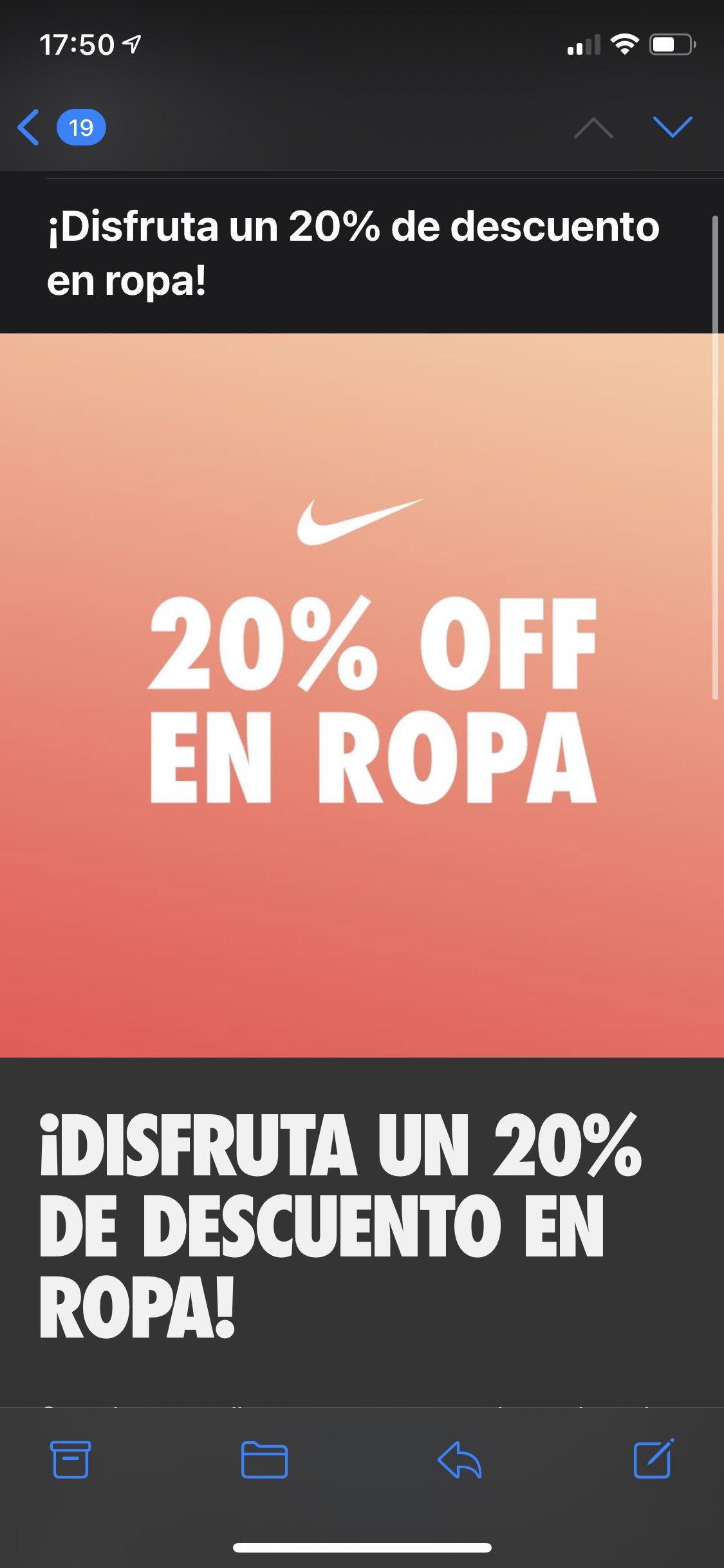 Nike: 20% de descuento en ropa + 10% adicional para miembros (con cupón)