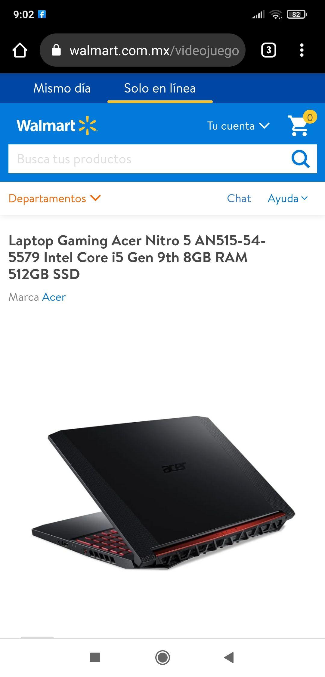 Walmart, Laptop Gaming Acer Nitro 5
