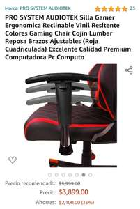 Amazon: Silla gamer Pro System Audiotecnica