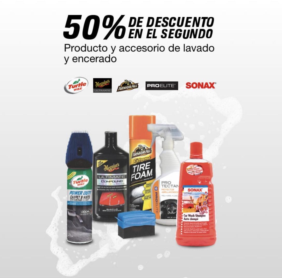 Autozone: 50% de descuento en el 2do proucto o ccesorio de lavado y encerado