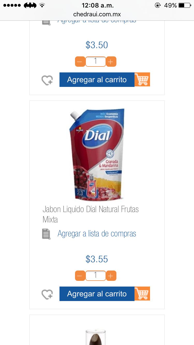 Chedraui Super Che Champotón: jabón líquido Dial 450ml a $3.40