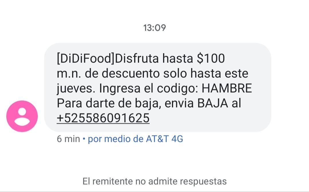 $100 de descuento hasta el jueves en DIDI FOOD
