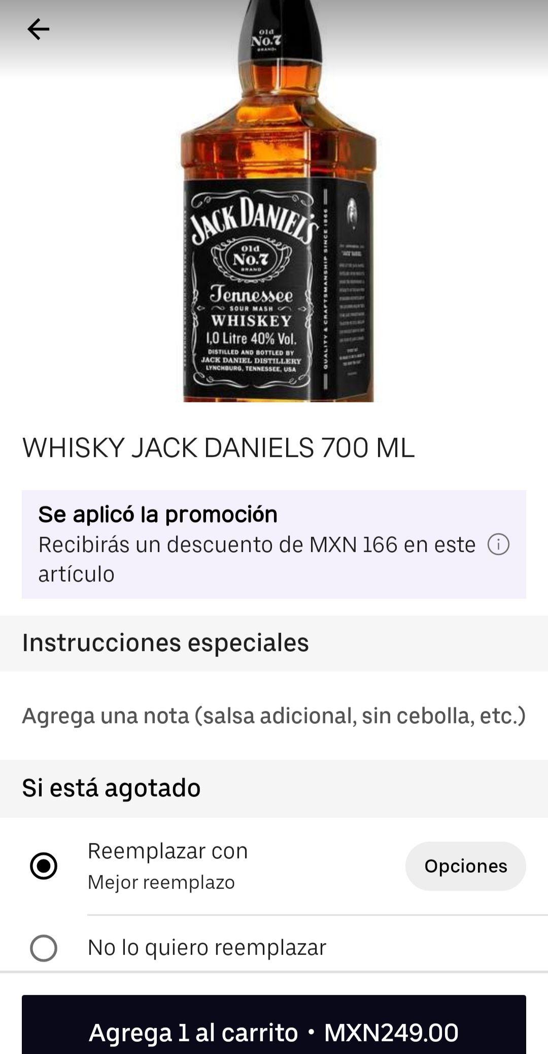 Uber Eats: La Castellana Jack Daniels old 7