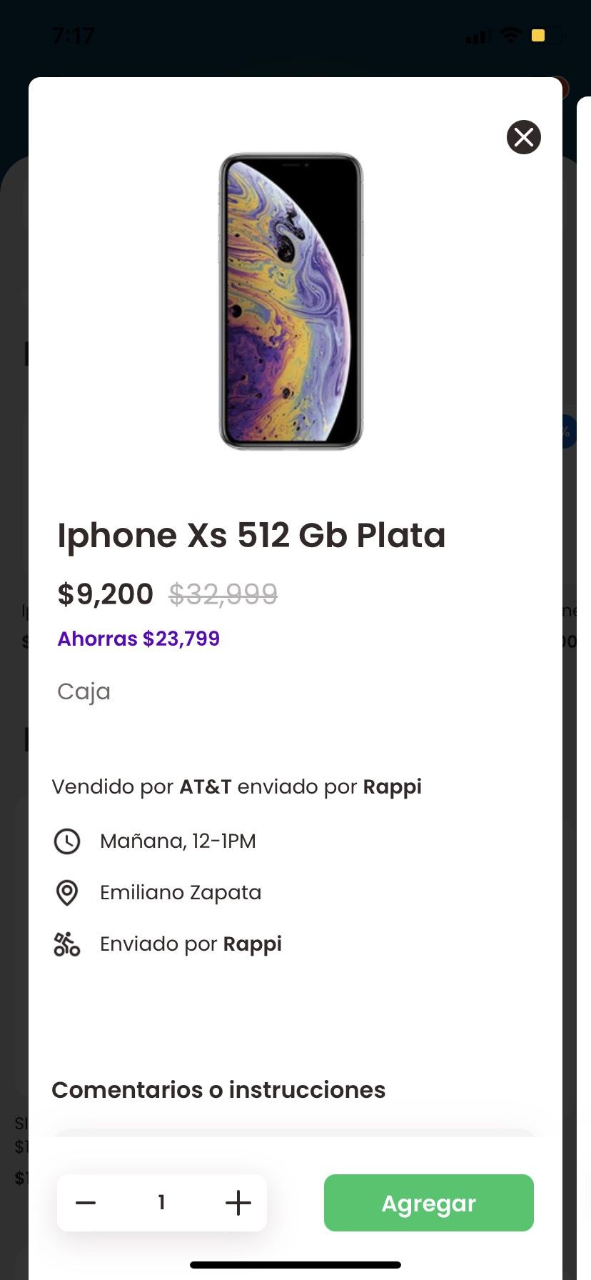Rappi: iPhone XS 512 gb plata att puebla