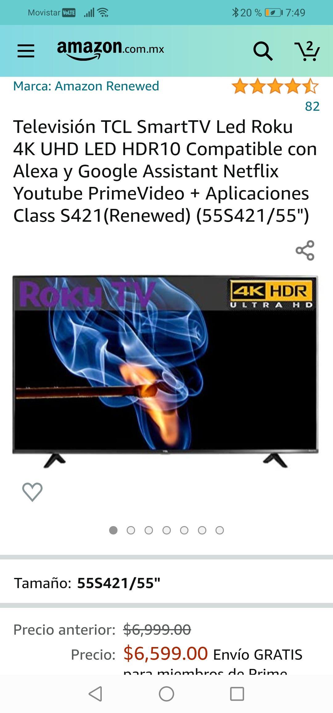 Amazon: Televisión TCL SmartTV Led Roku 4K UHD LED HDR10 Compatible con Alexa y Google Assistant 55 pulgadas (Renewed)