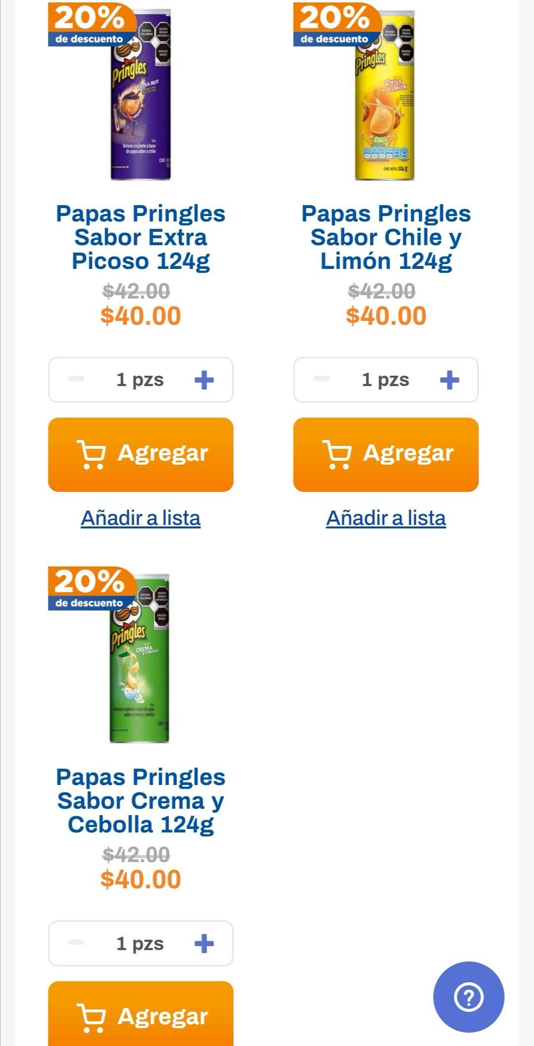 Chedraui: 20% de descuento en papas Pringles 124 g.