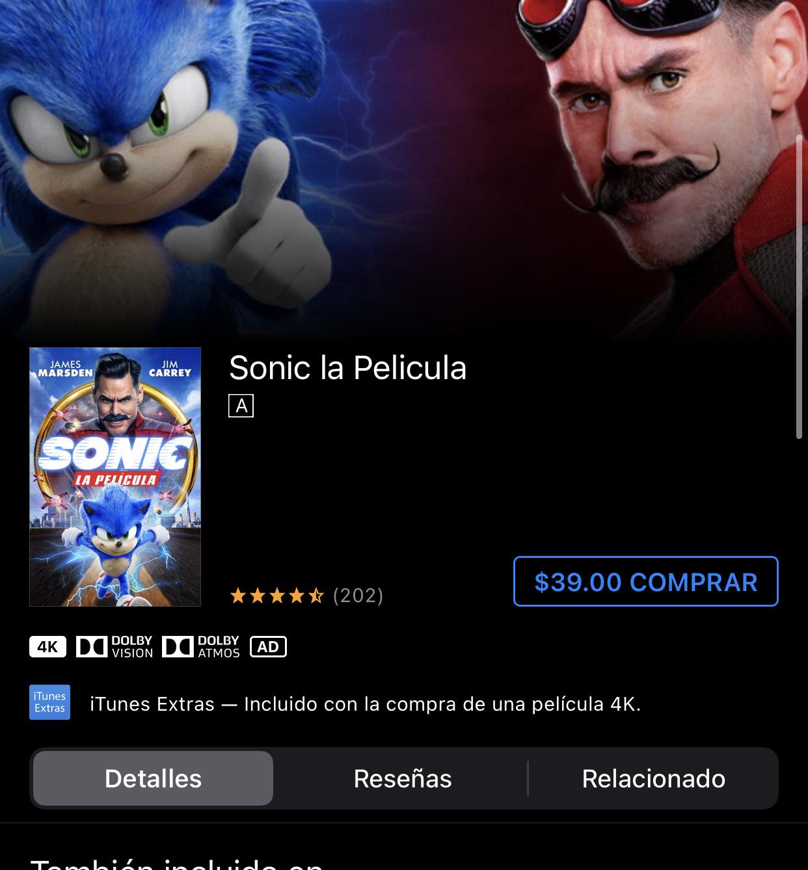 iTunes: Sonic La película 4k