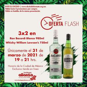 Bodegas Alianza: Oferta Flash Online 31 Marzo (19-21 hr): 3 x 2 en Ron Bacardi Blanco 980 ml y Whisky William Lawson's 750 ml.