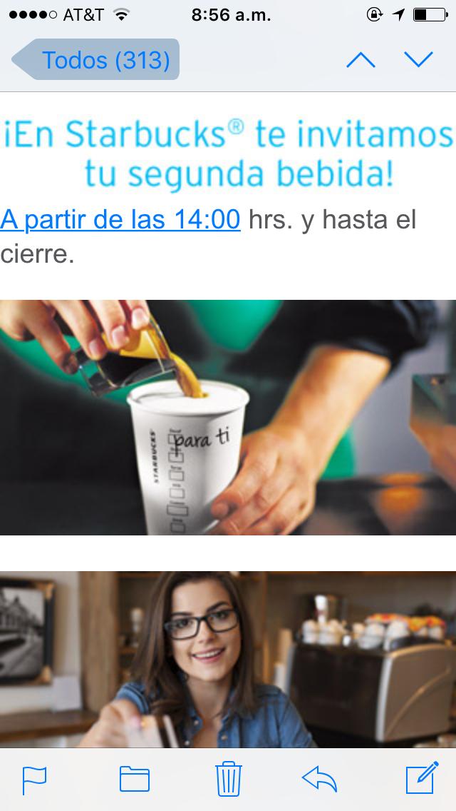 Starbucks: segunda bebida gratis pagando con Débito Banamex Mastercard