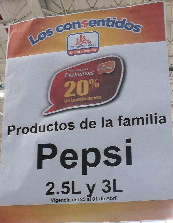 Chedraui: 20% de bonificación en Monedero en productos de la familia Pepsi 2.5 L y 3 L