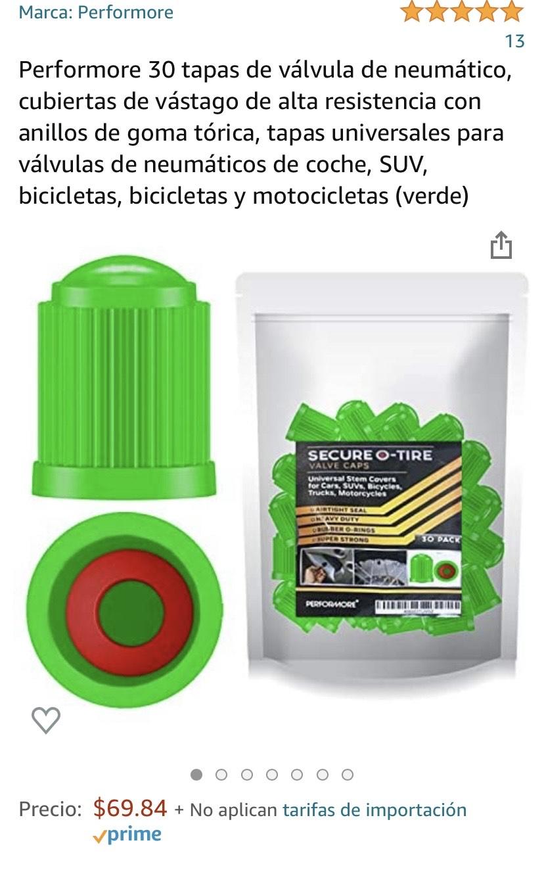 Amazon: Tapas de válvulas de neumático para auto, bicicleta, motocicleta