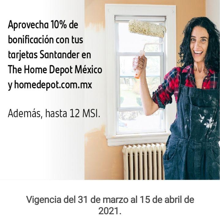 Santander 10% bonificación en home Depot