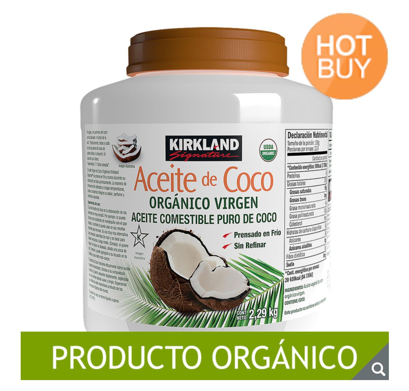 COSTCO: Aceite De Coco Orgánico Virgen Kirkland Signature 2.48 L