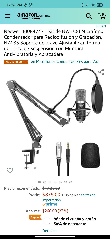 Amazon: Neewer 40084747 - Kit de NW-700 Micrófono Condensador, NW-35 Soporte de brazo Ajustable, con Montura Antivibratoria y Abrazadera